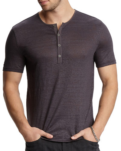Men's Regular-Fit Short-Sleeve Linen Henley Shirt