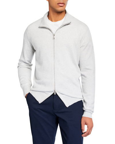 Ghiaia Men's Solid Cashmere Zip-Front Sweater