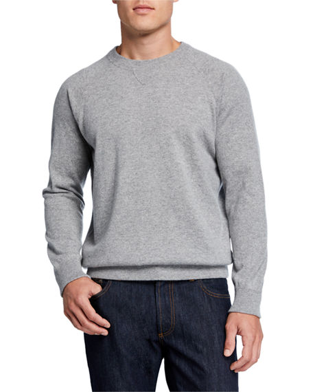 Ghiaia Men's Solid Cashmere Raglan-Sleeve Sweater