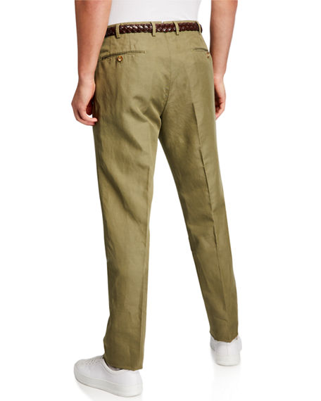 Image 2 of 3: Incotex Men's Linen-Blend Chino Pants