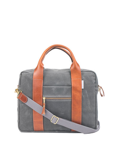 Men's Waxed Canvas & Leather Briefcase
