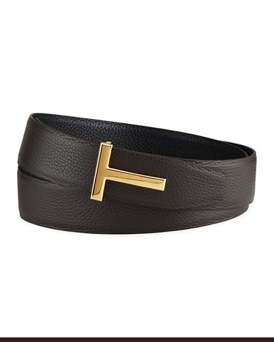 Men's Signature T Leather Belt