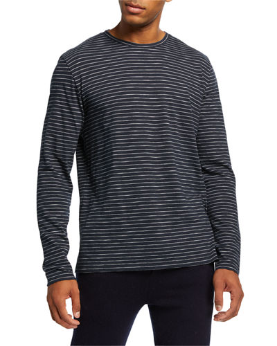 Men's Striped Long-Sleeve Slub Jersey Crewneck T-Shirt