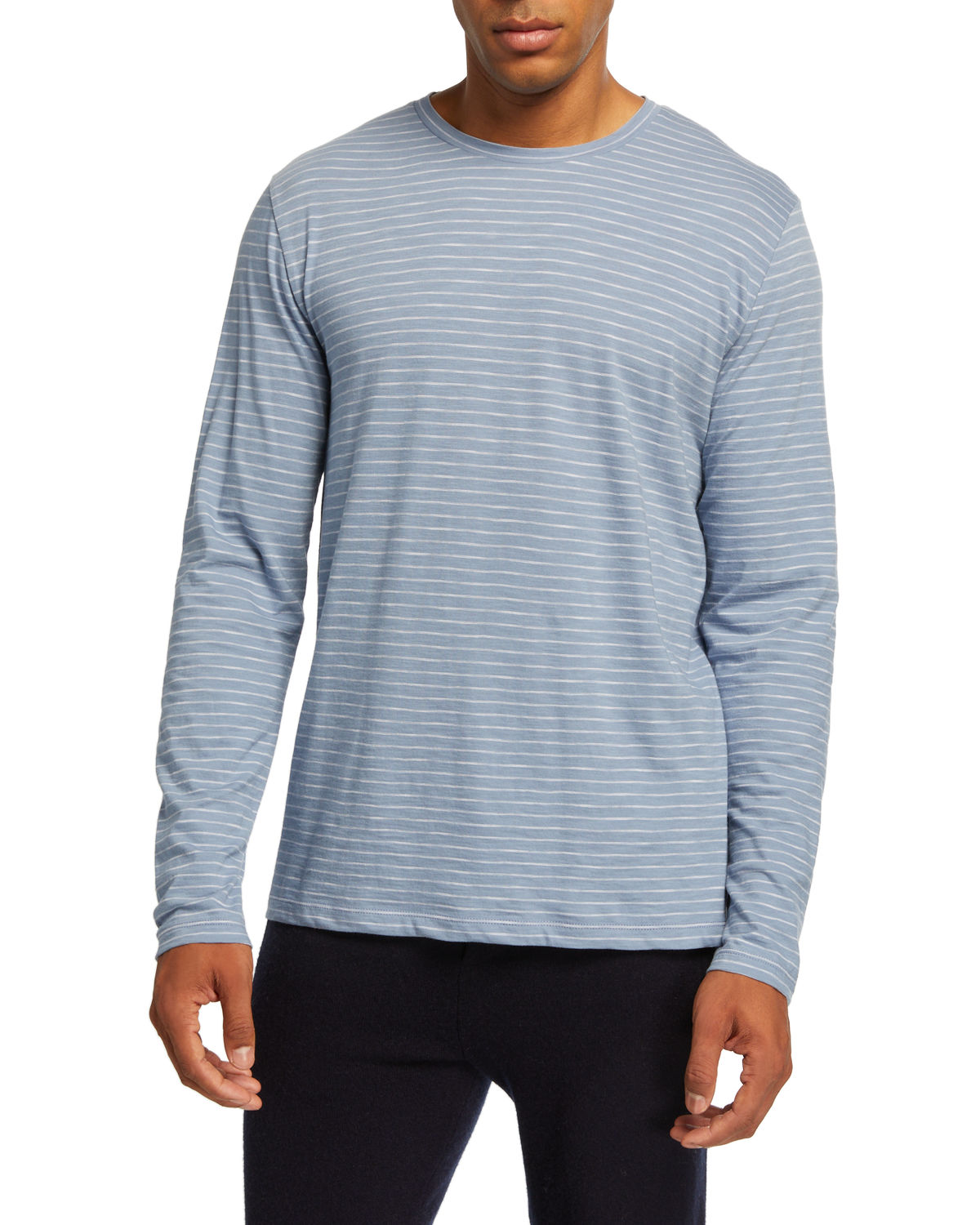 Vince T-shirts MEN'S STRIPED LONG-SLEEVE SLUB JERSEY CREWNECK T-SHIRT