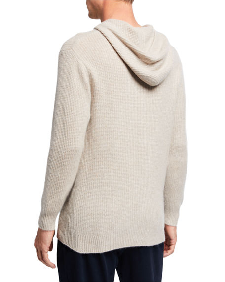 Image 2 of 2: Vince Men's Marled Cashmere Pullover Hoodie