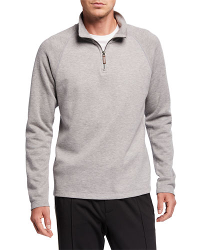 Men's French Rib-Knit Quarter-Zip Sweater