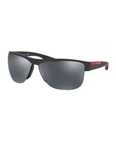 Men's Square Semi-Rimless Sunglasses