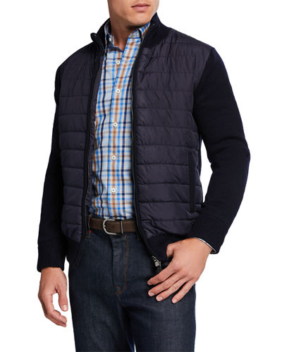 Men's Quilted Jacket w/ Knit Sleeves