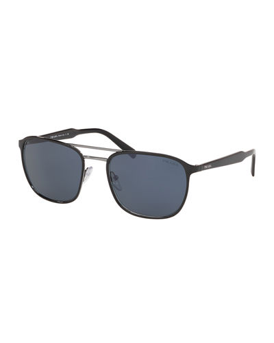 Men's Square Two-Tone Metal Patterned Sunglasses