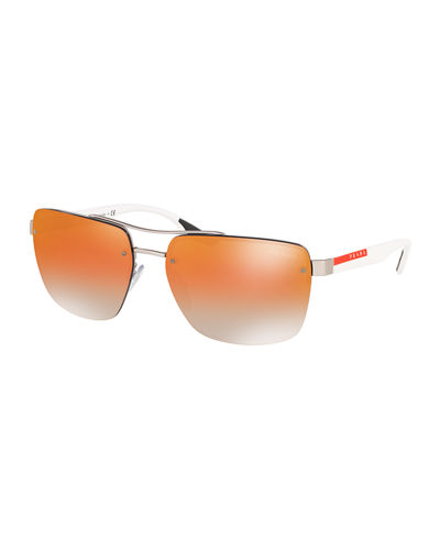 Men's Square Semi-Rimless Double-Bridge Metal Sunglasses