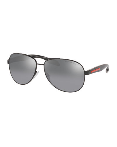 Men's Metal Aviator Double-Bridge Sunglasses
