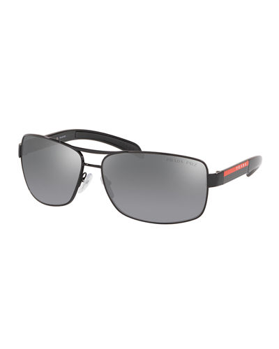 Men's Steel Rectangle Double-Bridge Polarized Sunglasses