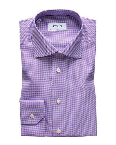 Men's Slim-Fit Houndstooth Dress Shirt