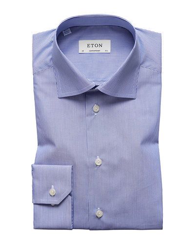 Men's Contemporary-Fit Fine Stripe Dress Shirt