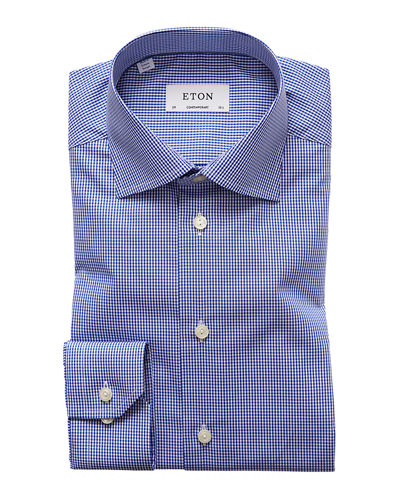 Men's Contemporary-Fit Mini Gingham Dress Shirt