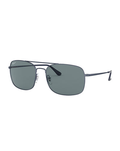 Men's 60mm Square Metal Brow-Bar Polarized Sunglasses