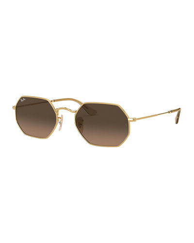 Men's Lightweight Octagonal Metal Sunglasses