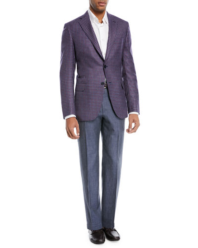 Brioni Heathered Wool/Silk Flat-Front Dress Pants
