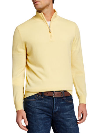 Neiman Marcus Men's Cloud Cashmere 1/4-Zip Sweater