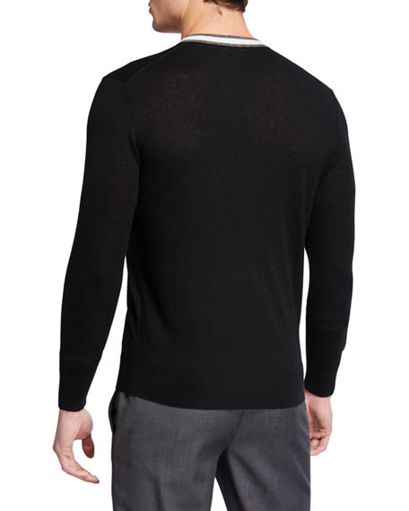 Image 2 of 2: Neiman Marcus Men's Cashmere Contrast-Stripe V-Neck Sweater