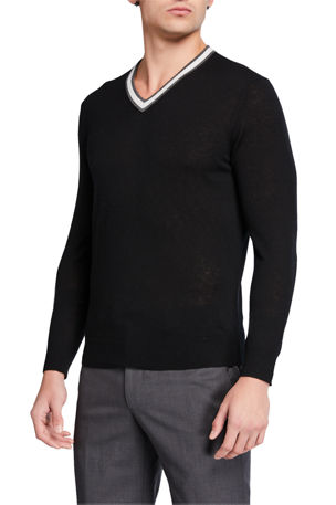 Neiman Marcus Men's Cashmere Contrast-Stripe V-Neck Sweater