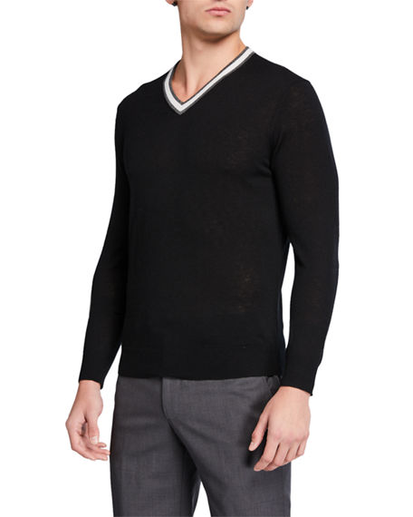 Image 1 of 2: Neiman Marcus Men's Cashmere Contrast-Stripe V-Neck Sweater