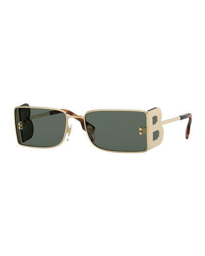 Men's Square Metal Sunglasses with B Logo Spoilers