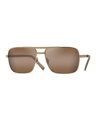 Men's Compass Polarized Metal Brow-Bar Sunglasses