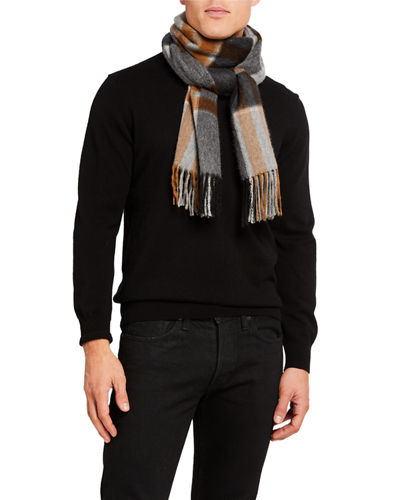 Men's Aran Delmar Plaid Cashmere Scarf
