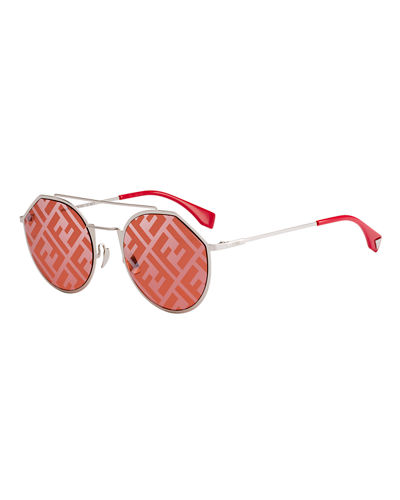Men's 54mm FF Logo-Monogram Geometric Metal Sunglasses
