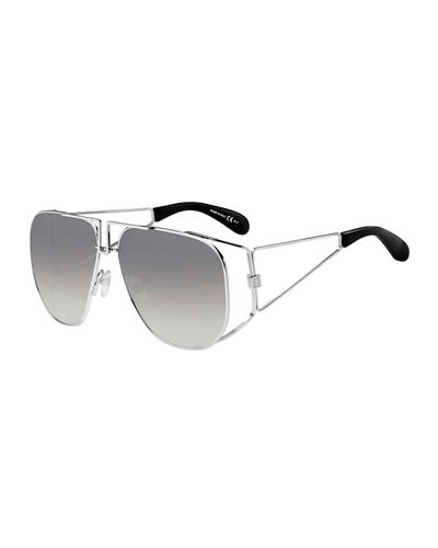 Givenchy Men's 4G Open Geometric Stainless Steel Sunglasses