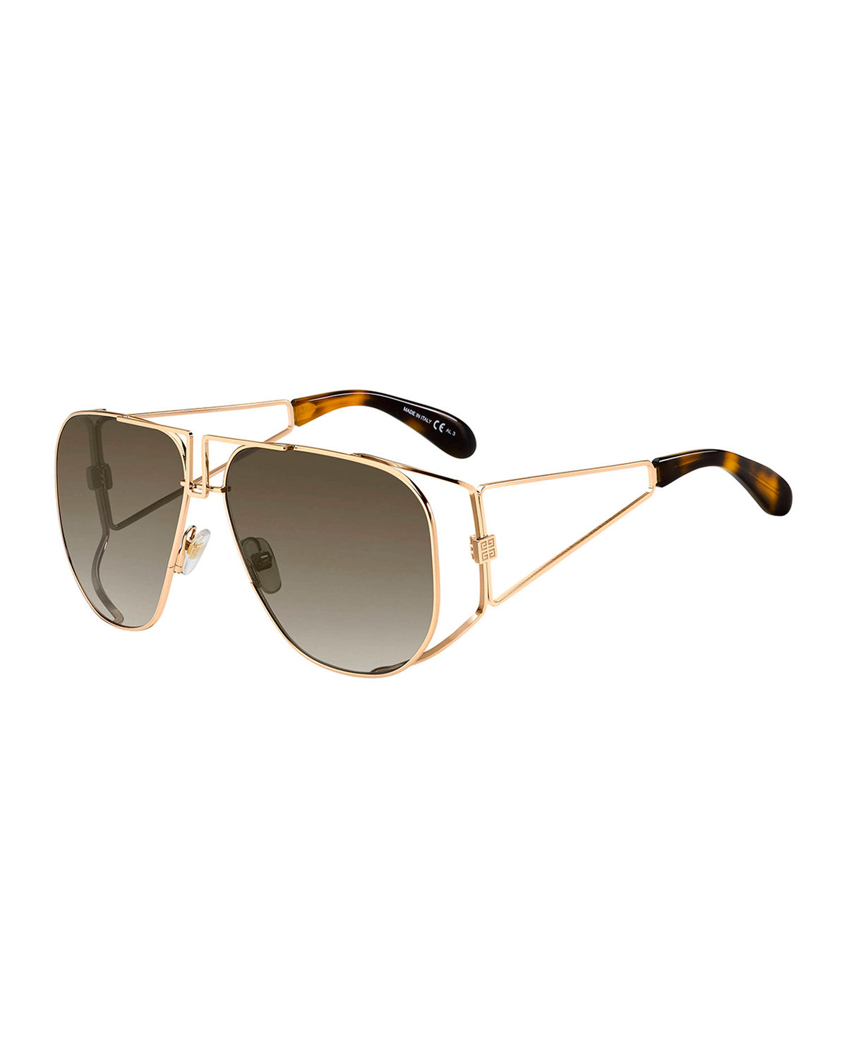 Givenchy Sunglasses MEN'S 4G OPEN GEOMETRIC STAINLESS STEEL SUNGLASSES