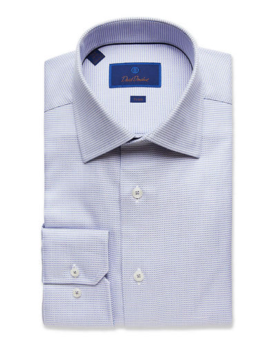 David Donahue Men's Trim-Fit Micro-Check Dress Shirt
