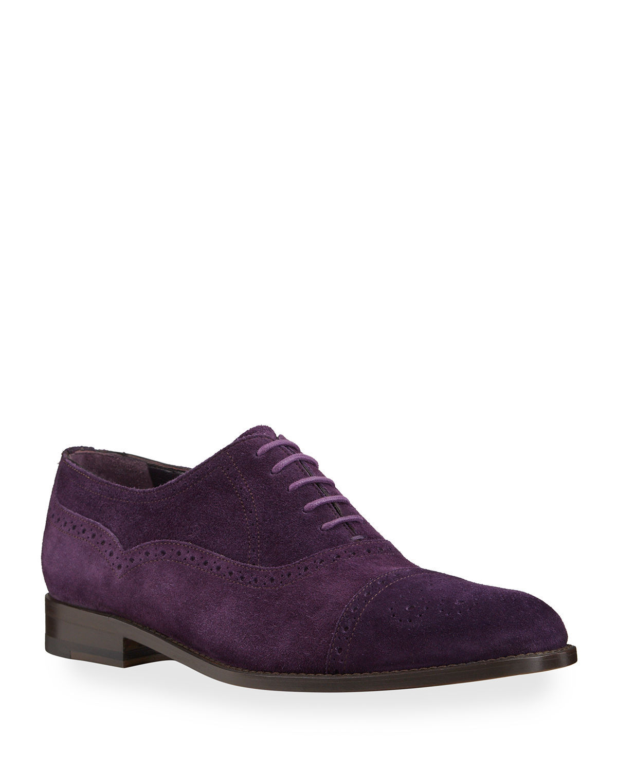 Manolo Blahnik MEN'S WITNEY BROGUE SUEDE OXFORD SHOES