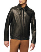 Andrew Marc Men's Lightweight Leather Shirt-Collar Bomber Jacket