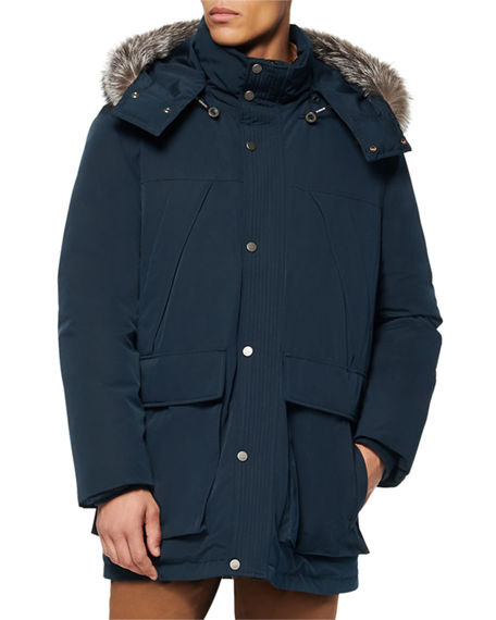 Andrew Marc Men's Down-Filled Parka Coat w/ Fox Fur-Trim