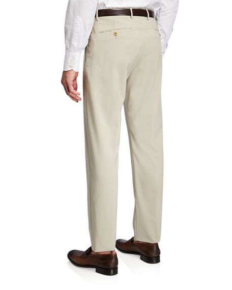 Image 2 of 3: Zanella Men's High-Twist Serge Wool Dress Trousers
