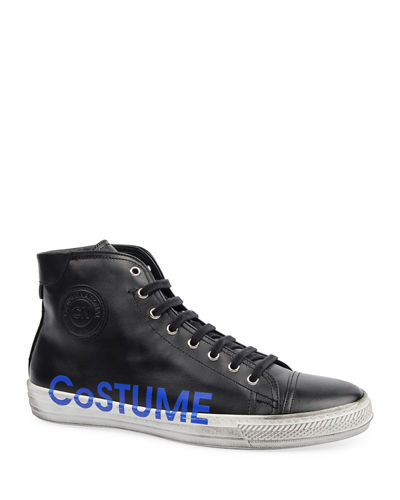 Men's High-Top Leather Logo Sneakers w/ Dirty Treatment