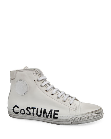 Costume National Men's High-Top Leather Logo Sneakers w/ Dirty Treatment