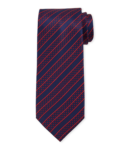 Stefano Ricci Men's Dashed Line-Print Silk Tie