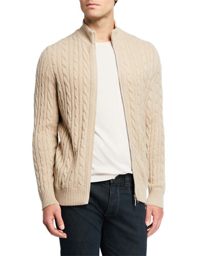 Loro Piana Men's Cable-Knit Cashmere Zip-Front Sweater