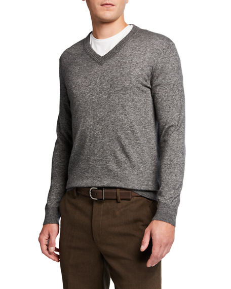 Loro Piana Men's Cashmere-Silk V-Neck Sweater