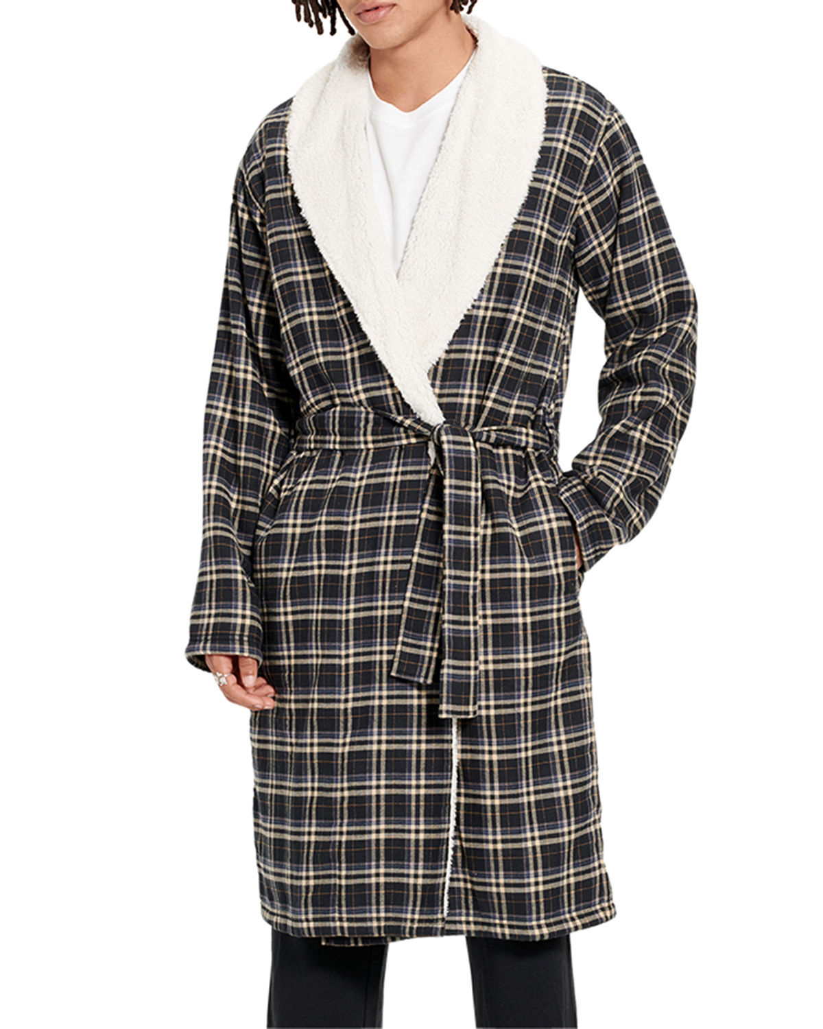 UGG Men's Kalib Fleece-Lined Plaid Robe