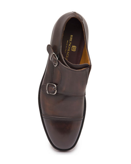 Image 2 of 5: Bruno Magli Men's Barone Burnished Leather Double-Monk Loafers