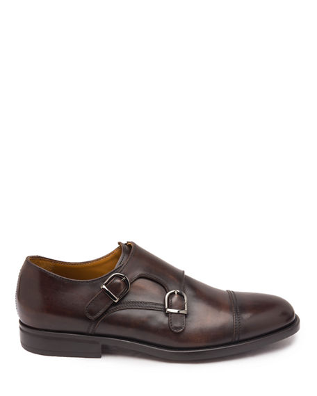 Image 3 of 5: Bruno Magli Men's Barone Burnished Leather Double-Monk Loafers
