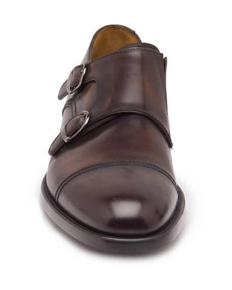 Image 4 of 5: Bruno Magli Men's Barone Burnished Leather Double-Monk Loafers