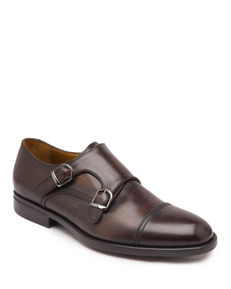 Image 1 of 5: Bruno Magli Men's Barone Burnished Leather Double-Monk Loafers