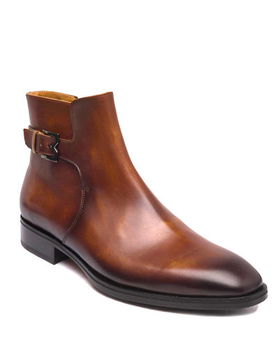 Men's Angiolini M-Buckle Burnished Leather Ankle Boots