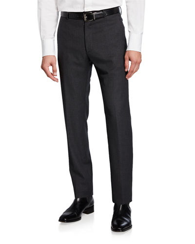 Men's Wool Houndstooth Dress Trousers