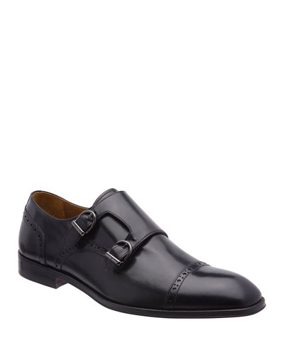 Bruno Magli Men's Anzio Brogue Leather Double-Monk Loafers